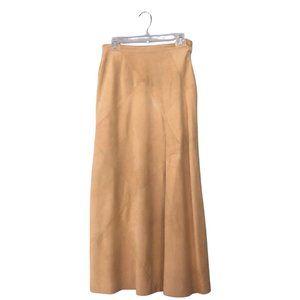 Vintage 80's Khaki Tan Suede Patchwork Maxi Skirt